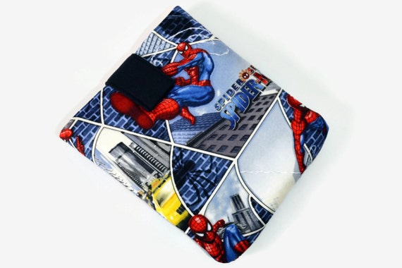 Tablet Case, iPad Mini Cover, Spider Man, Marvel Comics, 7, 8, 9 , 10 inch Sleeve, Kindle Cozy, FOAM Padding, Holiday Gift, Blue, Grey