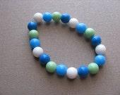 JEWELRY SALE- Girls Bracelet- Beaded Children's Jewelry- Blues, White, Green