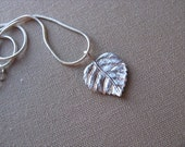 SALE- Small Silver Leaf Necklace- Dainty Silver Necklace