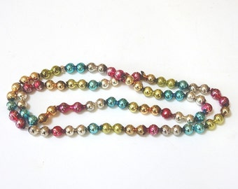 GLASS BEAD GARLAND - Multi Colored Continuous Loop  - Large Double Beads Vintage Christmas - Loop Strand -