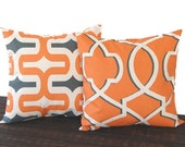 Throw Pillow covers Pair of Two cushion covers in orange charcoal natural geomentric modern throw cushion decor