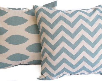 Throw pillow covers, Pillow Shams, Cushion Covers, ikat chipper and chevron - pale smokey blue and natural