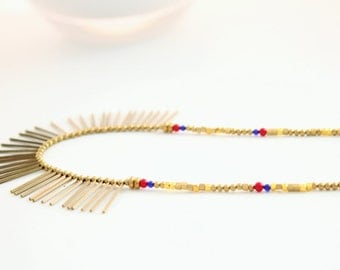 Bohemian Gold Brass and Gemstones Spike Necklace