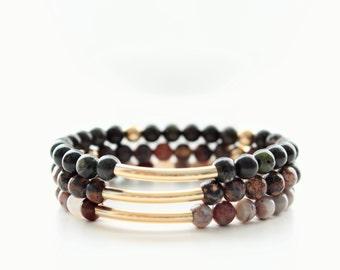 Jasper Gemstones 14kt Tube Beaded Stackable Bracelets
