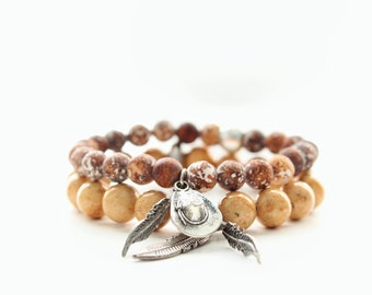 Riverstone and Agate Gemstone Silver Western Charms Beaded Bracelets