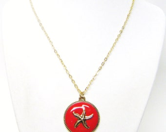 Gold Plated Starfish on Red Background Pendant Necklace