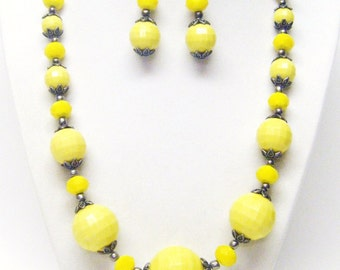 Chunky Yellow Faceted Acrylic Bead Necklace & Earrings Set