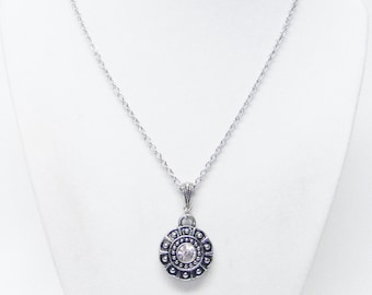 Round Silver Plated Fancy Etched Pendant w/ Rhinestone Necklace