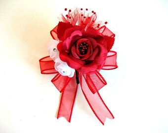 Red and white gift wrap bow, Wedding gift bow, Bridal shower bow, All occasion corsage, Bow for presents, Special party decorations  (W125)