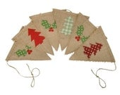 Christmas Bunting, Rustic Banner With Applique Holly And Trees, Christmas Decor