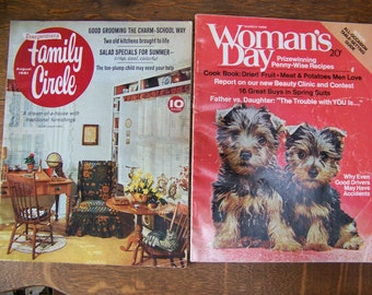 Vintage Woman's Day Magazine and Vintage Family Circle Magazine (set of 2 magazines) 1968 and 1961. Traditional Furniture. Dried Fruit. Ads.
