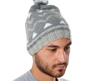 Original hand knitted hat from warm wool and microfiber yarn