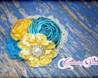 Yellow, Turquoise Headband, Aqua, Ivory Fabric Flower Hair Bow, Blue Hair Piece, Headband, Baby Hair Bow, Fabric Flowers, Brooch, Hair Piece