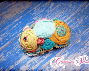 Mustard Yellow, Coral, Turquoise, Aqua Headband, Fabric Flower Hair Piece, Flower Hair Accessories, Fabric Flower Brooch, Vintage Hair Clip