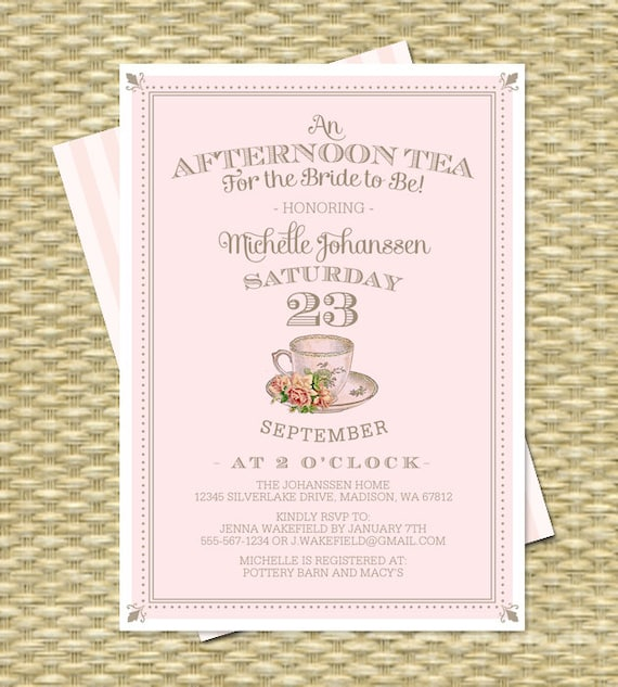 Afternoon Tea For The Bride-to-Be Bridal Shower Invitation