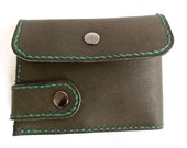 Leather olive green ladies wallet / coin purse.