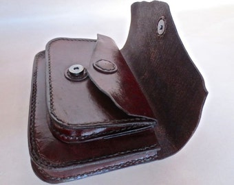 Brown leather clutch purse, clutch wallet