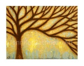 TREE PAINTING Wall Art Print from an original painting by Jennifer Barrineau, earthtones, golds, browns, amber