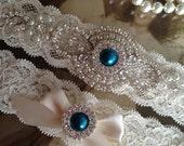 SALE-Wedding Garter-Garter-Bridal garter-Ivory Lace-Rhinestone-Applique-Blush-Pink-Teal-Blue-Pink-Purple-Ivory-Vintage Garter-Stretch lace