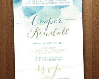 Watercolour & Calligraphy Boy's Baptism Invitation