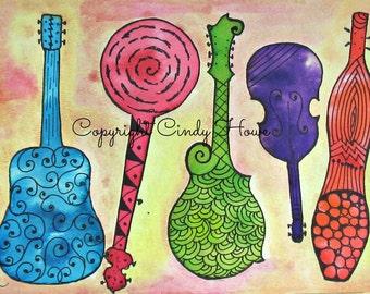 Digital art, mandolin, guitar, banjo, fiddle, dulcimer,Zentangle art, musical, instruments, acoustic instruments, Bluegrass,  digital
