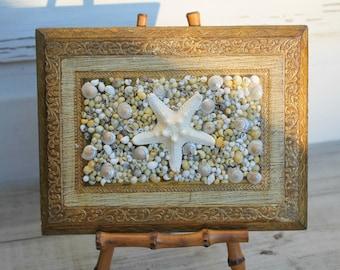 Italian Florentine Seashell Wall Plaque/Seashell Art/Vintage Florentine Plaque