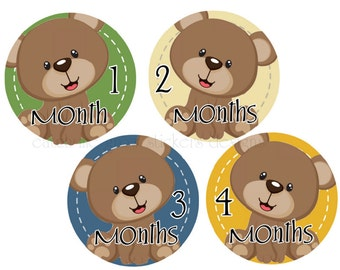 Monthly Stickers Bears Month Stickers Baby Milestone Stickers Monthly Stickers Baby Shower Gift Photo Prop
