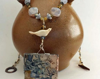Age of Innocence Necklace - collage pendant - cream blue gold - statement necklace