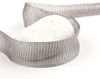 Dark Silver, Titanium Tubular Mesh Ribbon, Titanium Mesh Cord, 1 mt. - Cord / Ribbon Supplies // CRD-0011