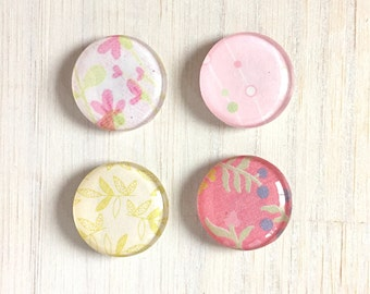 "Magnets: Magnet Set, 1"" magnets, Kids, Stocking Stuffer, Pink, Green, Geometric, Floral, Gift, Unique, For Him, For Her, Wedding, Birthday"