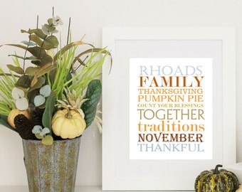 Thanksgiving Decor Print Subway Art with Family Name 8x10