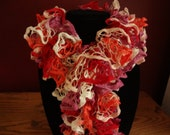 SALE - Ruffle Scarf - Handknit - 6 Feet Long - Salmon, Red, Lilac, and White