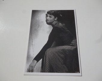 Vintage Audrey Hepburn Postcard - Sabrina Hollywood Print Black and White Decor