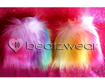 MADE TO ORDER wrist cuffs tie dye choose your color furry cuffs faux fur accessories Fluffy rave fluffies