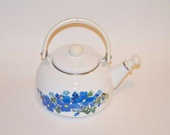 Vintage Floral Tea Pot, White and Blue Kitchen Decor, 80's Teapot, Metal Tea Pot