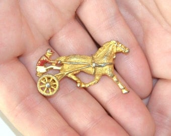 Horse Race Pin, Horse and Chariot, Gold Brooch, Women's Marked Jewelry, Gerry Gold Vintage Horse Race Pin,  Women's Brooch, Vintage Jewelry