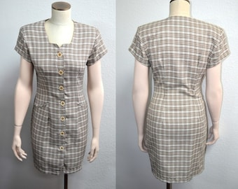 Brown Dress, Size 5, La Belle Dress, Vintage Dress,80's Does 50's Dress, Brown & Tan Dress, Women's Short Sleeved Dress, Secretary, Mad Men