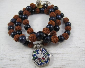 Rudraksha Mala Prayer Bead Necklace and Bracelet with Antique Indian Silver and Enamel Hanuman Amulet