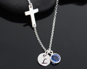 Sterling Silver Sideways Cross, Silver Cross necklace Necklace - Kelly Ripa, Sterling silver Cross with initial Or no.
