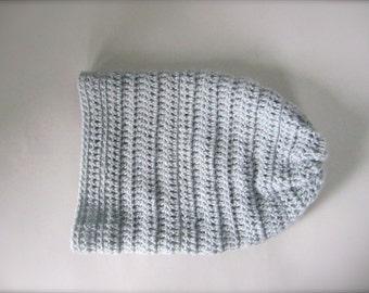 Crochet Baby Blue, Light Blue, Blue Grey, Blue Gray Handmade Slouchy Hat, Beanie Hat, Adult Hat