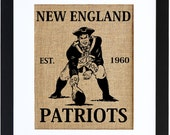 New England Patriots, Football, Patriots Art, Burlap Wall Decor, Burlap Wall Art, Frame Included