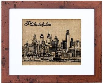 Philadelphia Skyline Burlap Art, Home Decor, Burlap prints