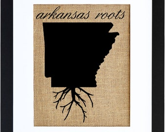 Arkansas Roots, Burlap Print, Wall Art, Burlap, Frame Included