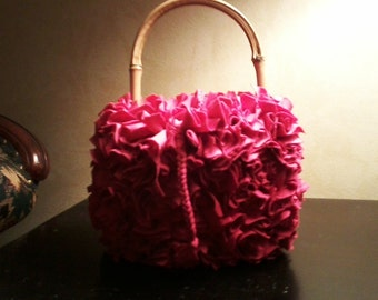 Pink Rag Bag with Bamboo Handle