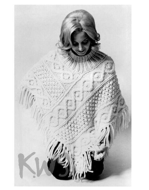 Knitting Pattern Aran Cape : Vintage 70s Knit Aran PONCHO PDF Pattern Pat by KinzieWoolShop