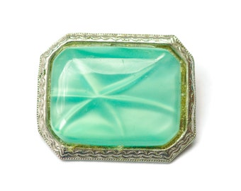 Vintage Brooch Mint Green Star Sapphire Satin Glass Pin