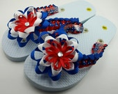 Fourth of July Flip Flops- Ladies S (5 to 6.5)