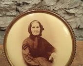 HUGE SALE antique circle easel frame with celluloid photo of elderly woman grandma grandmother