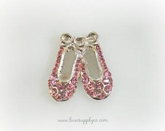 Ballet Slippers Rhinestone Embellisment - Ballet - Dance -  Ballerina - Pink Rhinestone - 22mm * 25mm - DIY Baby Headbands & Party Supplies