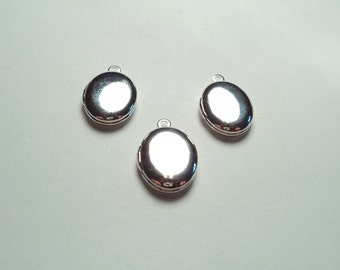 3 pcs - Silver plated Oval mini Lockets - m207s